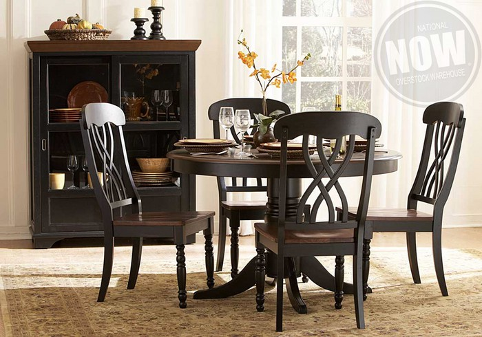 Ohana Black Dining Table And 4 Side Chairs Evansville
