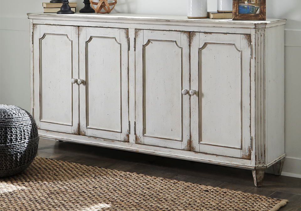 Mirimyn Antique White Door Accent Cabinet Evansville Overstock Warehouse