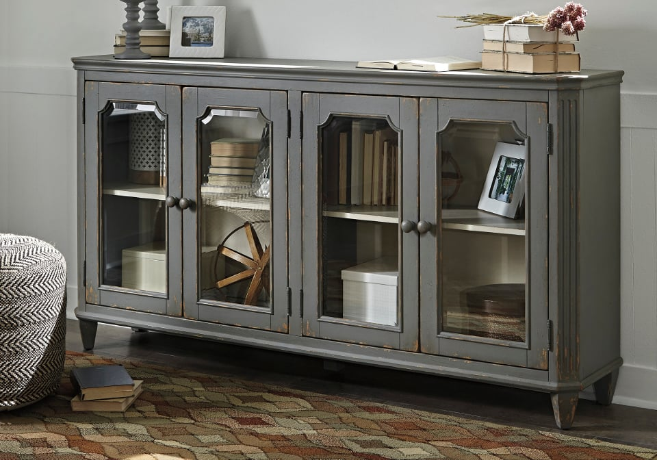 Mirimyn Antique Gray Door Accent Cabinet Evansville