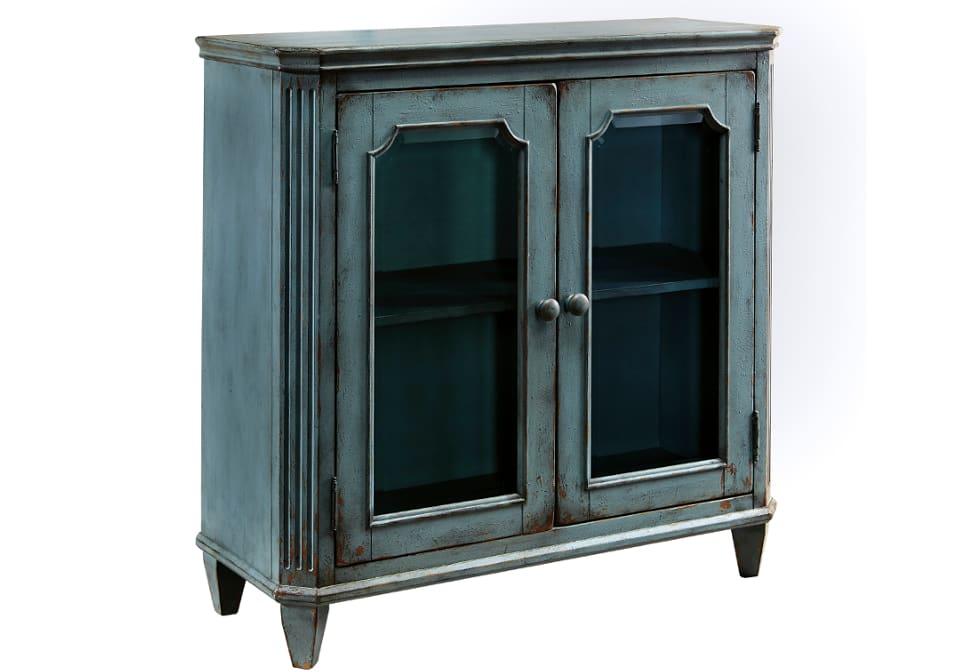 Mirimyn Antique Teal Door Accent Cabinet Evansville