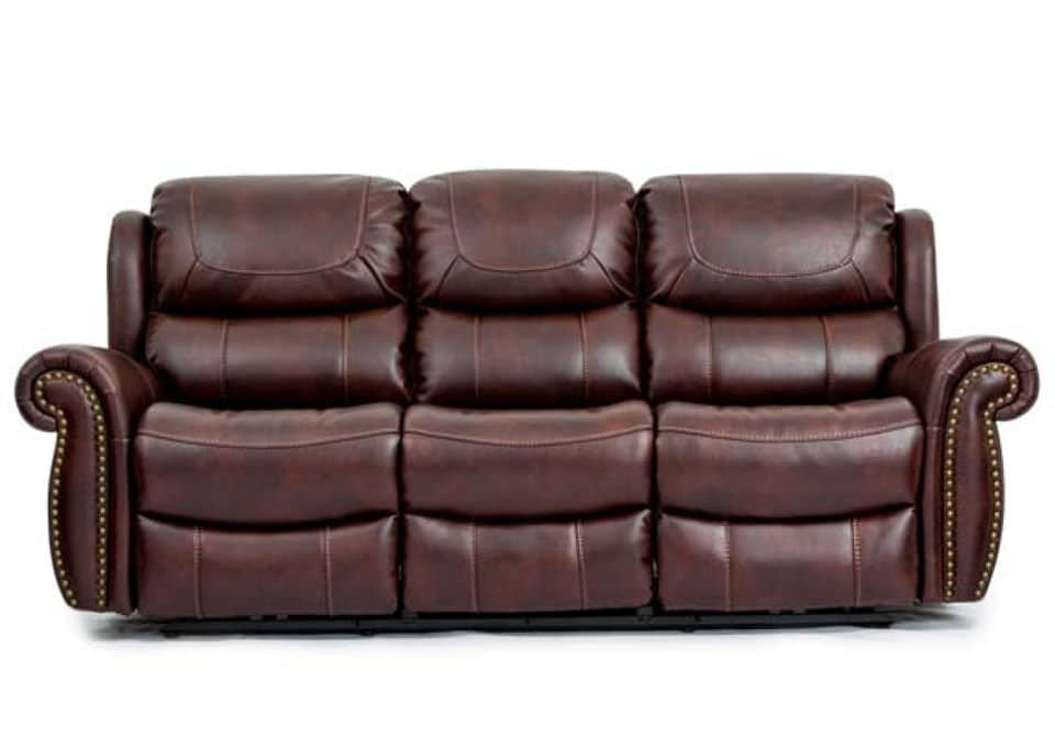 Routledge banner mahogany reclining sofa set evansville for Overstock furniture