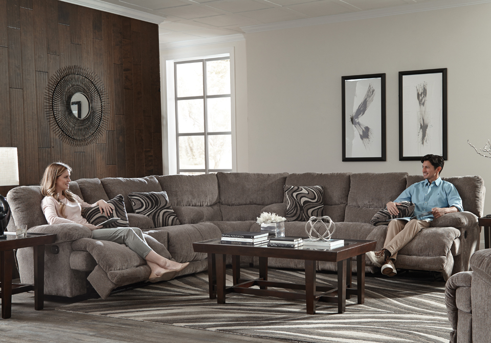 Catnapper Jules Pewter 3pc Reclining Sectional