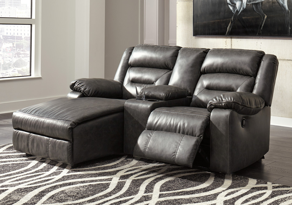Coahoma Dark Gray 3pc Laf Reclining Chaise Sectional W Console