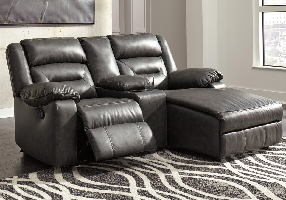 Coahoma Dark Gray 3pc Raf Reclining Chaise Sectional W Console