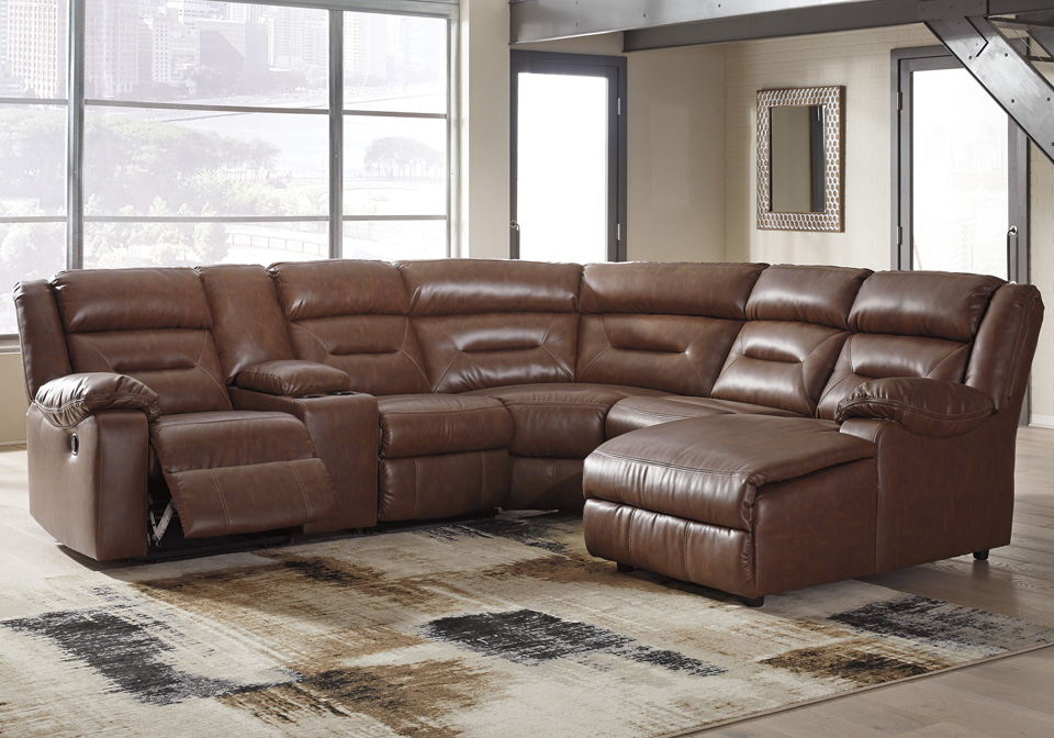 Coahoma Chestnut 6pc Raf Power Reclining Chaise Sectional W Console