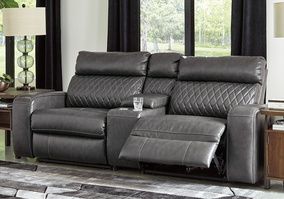 Samperstone Gray 3pc Power Reclining Sectional w/ Console