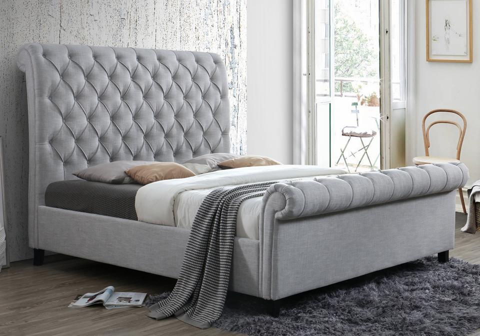 Kate Gray Upholstered King Sleigh Bed Evansville