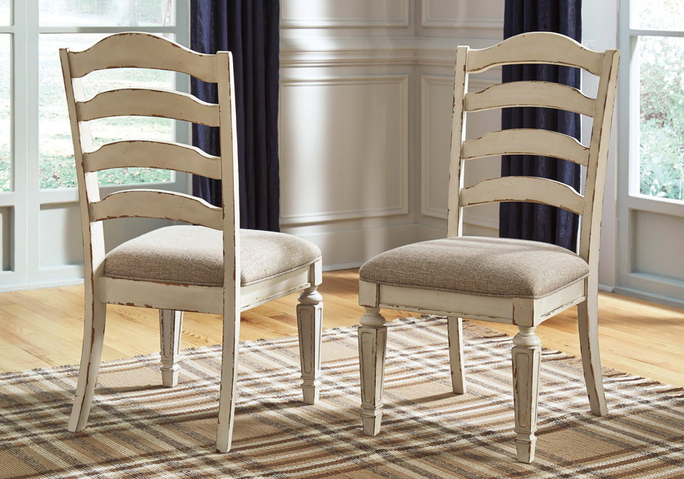 Realyn Chipped White Upholstered Dining Chair Evansville Overstock Warehouse