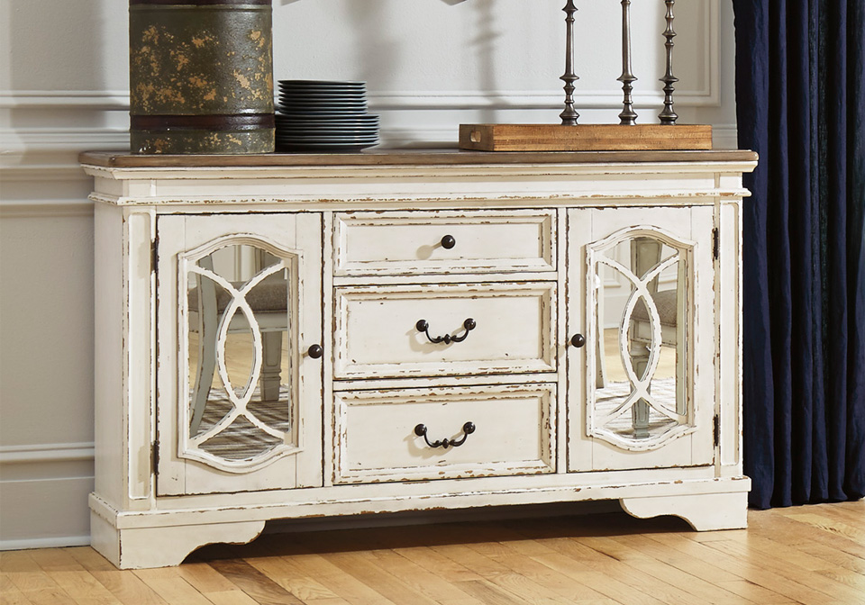 Realyn Chipped White Dining Room Server, Dining Room Server
