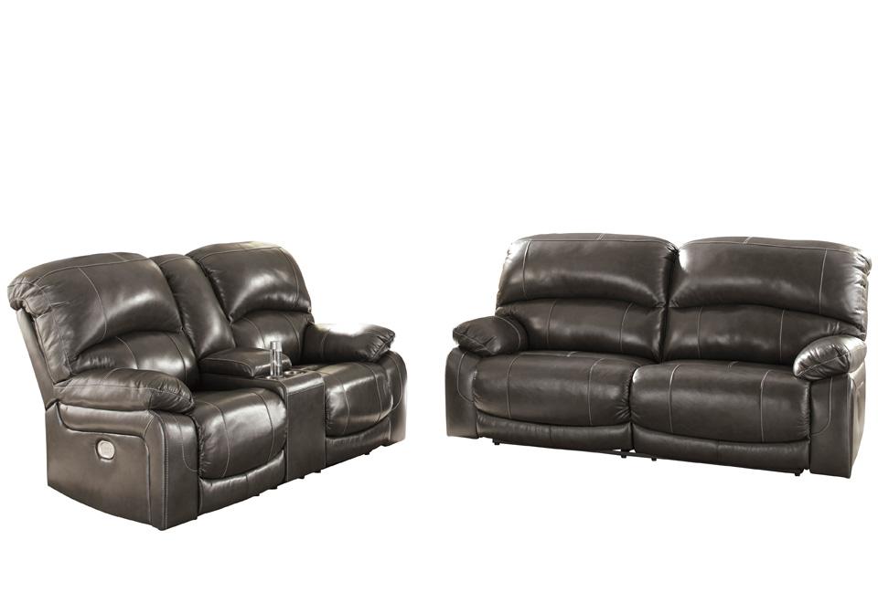 Hallstrung Gray Power Reclining Sofa Set W Console