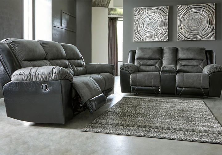 Earhart Slate Reclining Sofa Set