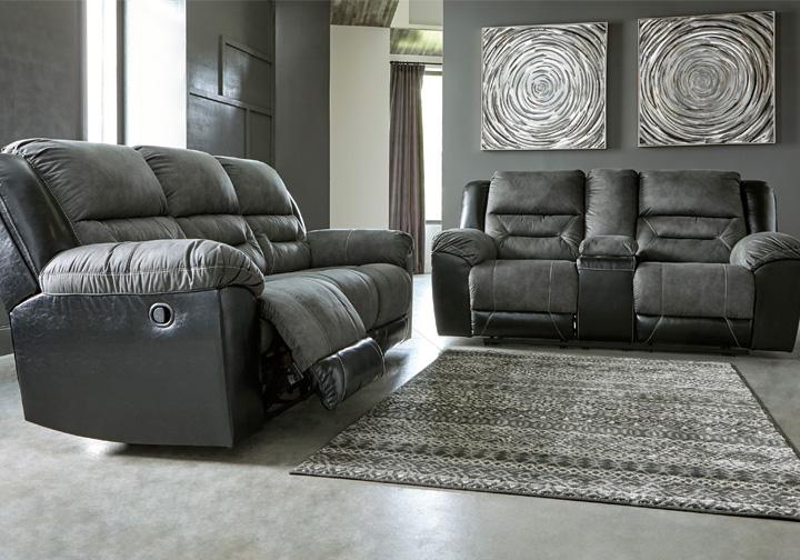 Earhart Slate Reclining Sofa Set Evansville Overstock Warehouse