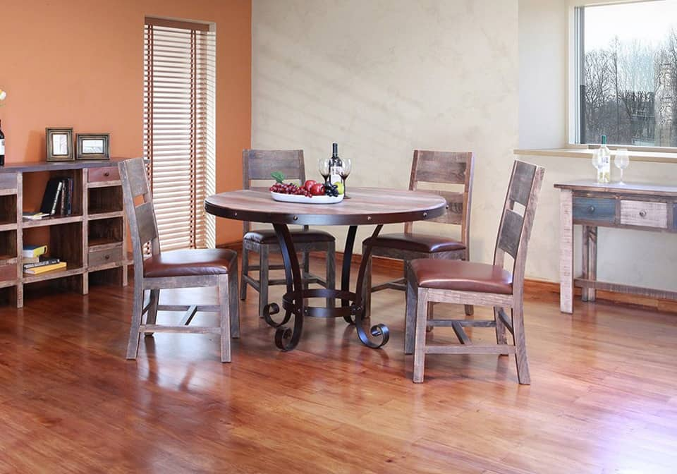Antique Iron Round Dining Set W4 Multicolor Solid Wood Chairs