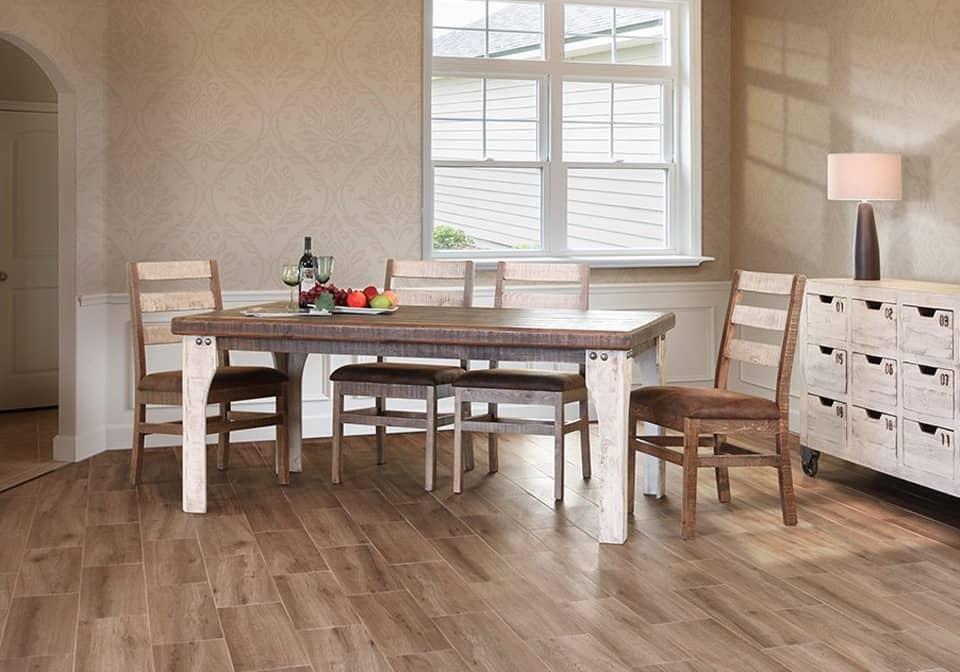 Antique White Rectangular Dining Set w/4 Chairs