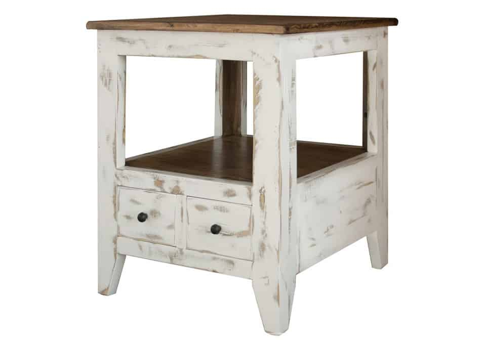 Antique White Multi-drawer End Table