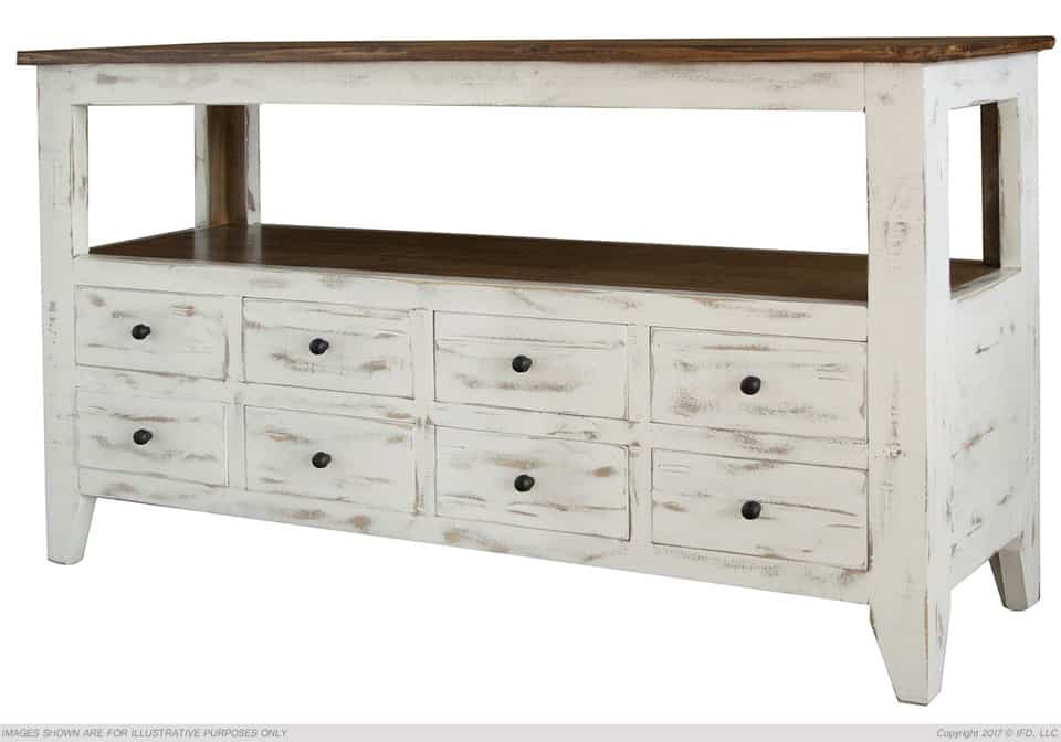 Antique White Multi Drawer Sofa Table