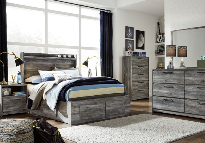 Baystorm Gray Full Panel Storage Bedroom Set | Evansville Overstock ...