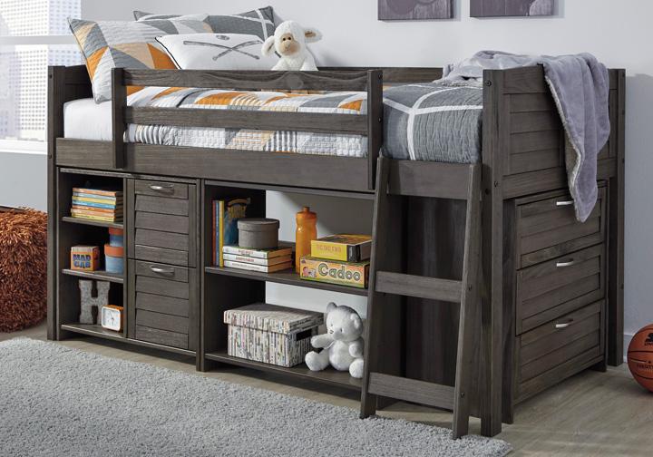 Caitbrook Gray Twin Loft Bed W Storage