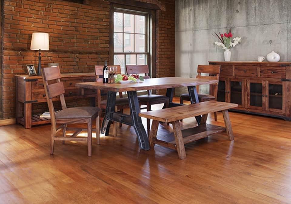 Groovy Parota Rectangular Iron Base Dining Set W 4 Chairs Bench Creativecarmelina Interior Chair Design Creativecarmelinacom
