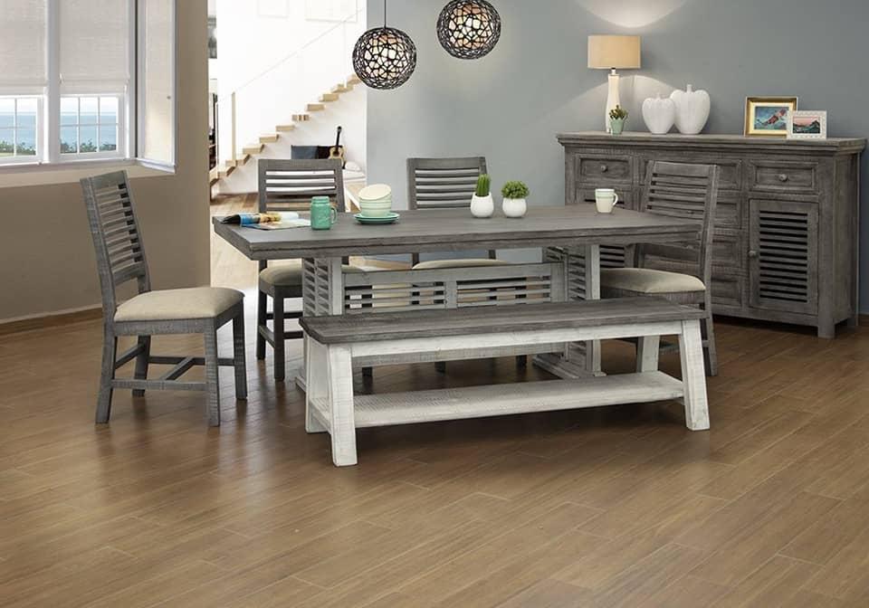 Stone Rectangular Dining Set W 4 Chairs Bench