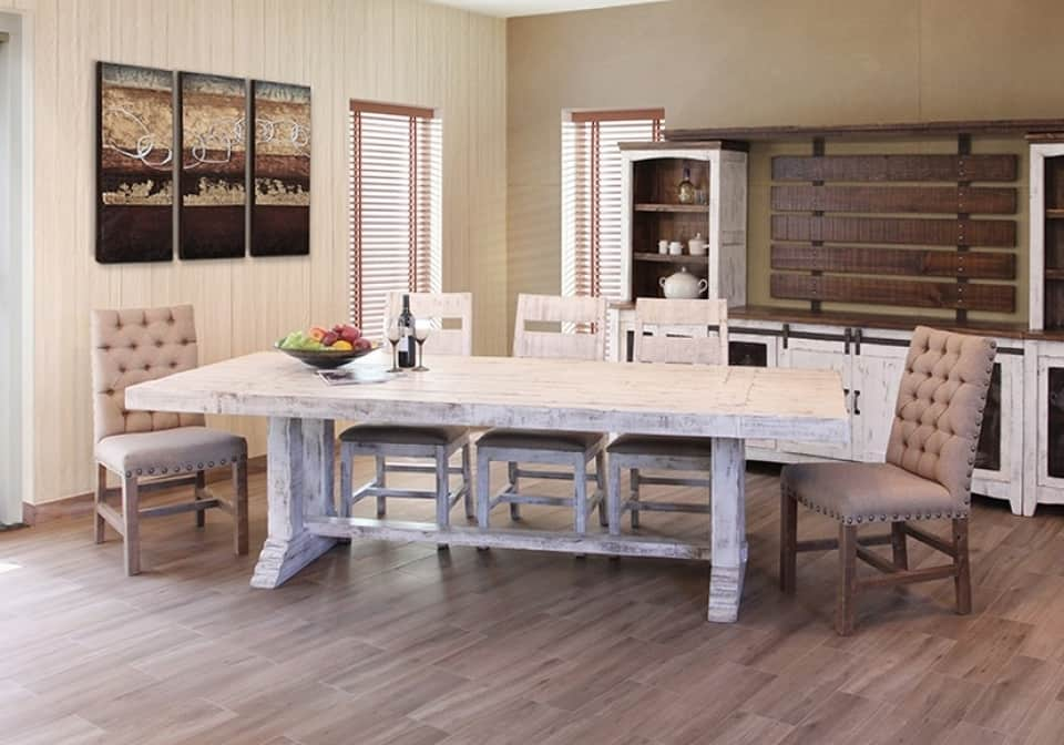 "37127aa0d45 Terra White 79"" Rectangular Dining Set w 4 Chairs"