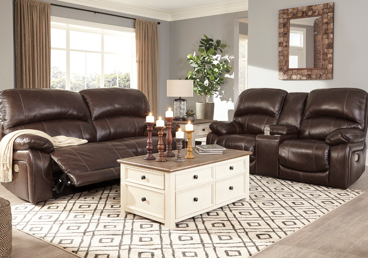 Hallstrung Chocolate Power Reclining Sofa Set w/ Console & Adjustable  Headrest