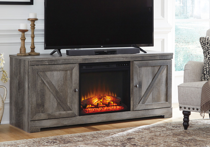 Marvelous Wynnlow Gray Tv Stand W Fireplace Insert Download Free Architecture Designs Estepponolmadebymaigaardcom