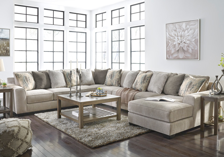 Ardsley Pewter 5Pc RAF Chaise Sectional
