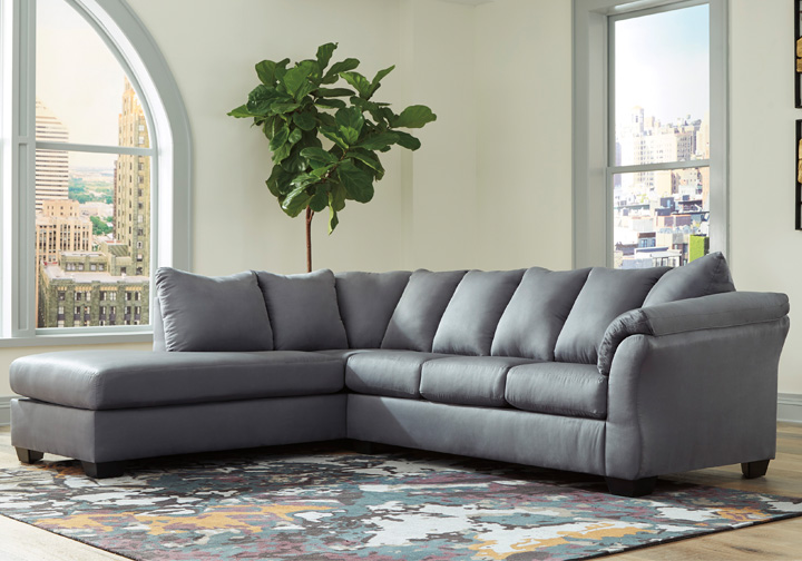 Darcy Steel 2pc Laf Chaise Sectional Evansville