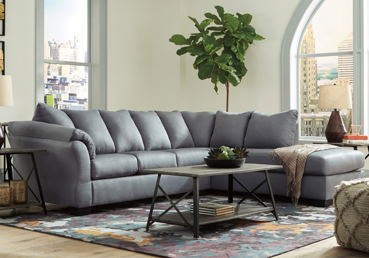 Amazing Darcy Steel 2Pc Raf Chaise Sectional Caraccident5 Cool Chair Designs And Ideas Caraccident5Info