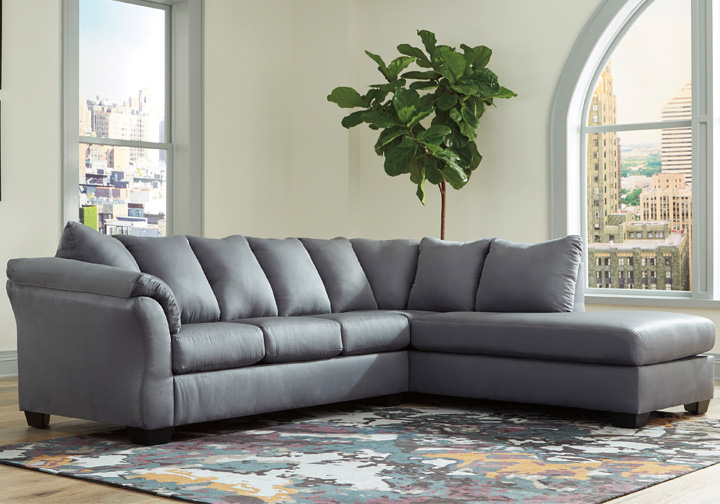 Fine Darcy Steel 2Pc Raf Chaise Sectional Caraccident5 Cool Chair Designs And Ideas Caraccident5Info