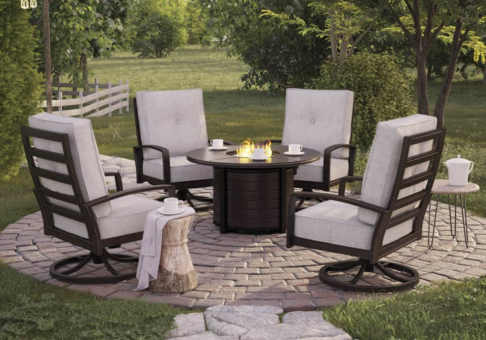 Dark Brown Round Fire Pit Table