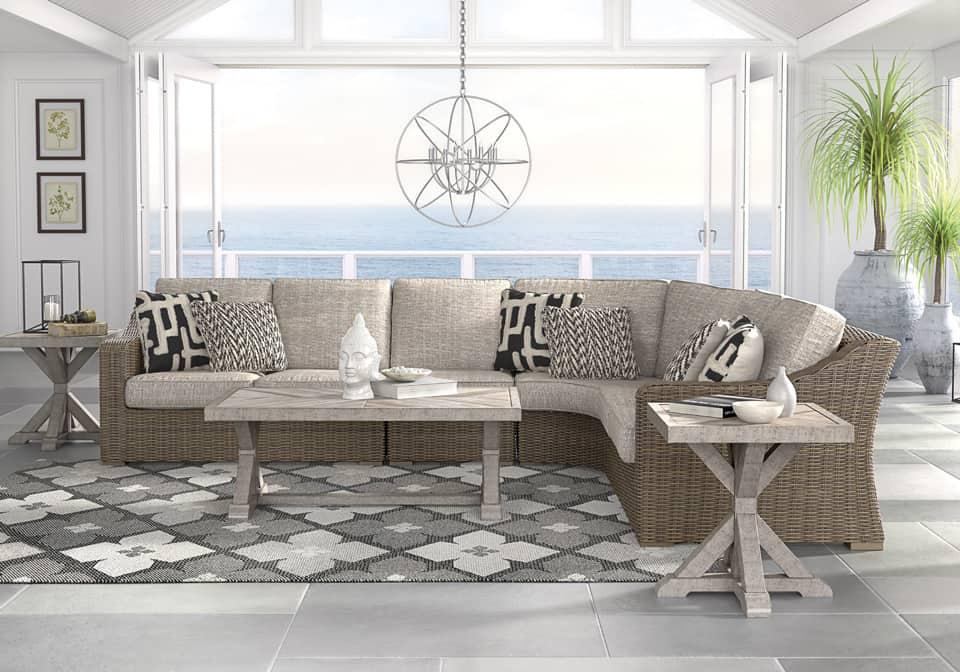 Beachcroft Beige 3Pc Patio Set   Evansville Overstock ... on Beachcroft Beige Outdoor Living Room Set id=29085