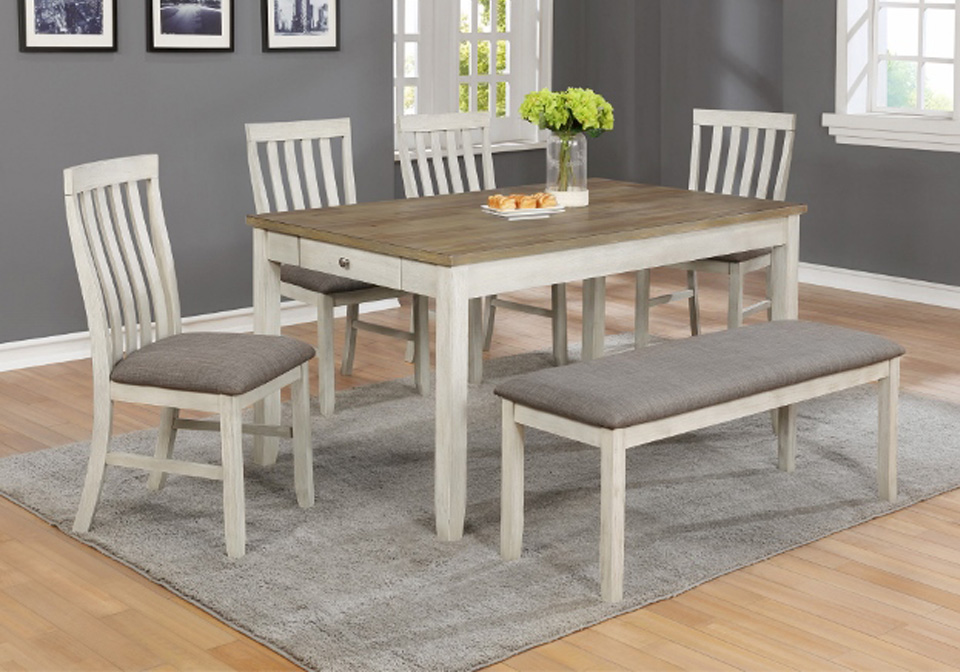 Nina White Rectangular Dining Room Table 6PC. Set