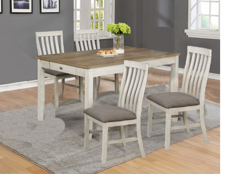 a78e9cee35 Nina White Rectangular Dining Room Table 5PC. Set | Evansville ...