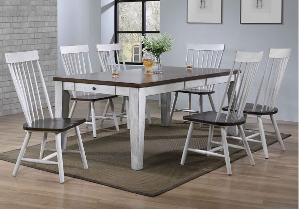 Riley White Dining Room Table 7 Pc Set Evansville Overstock Warehouse