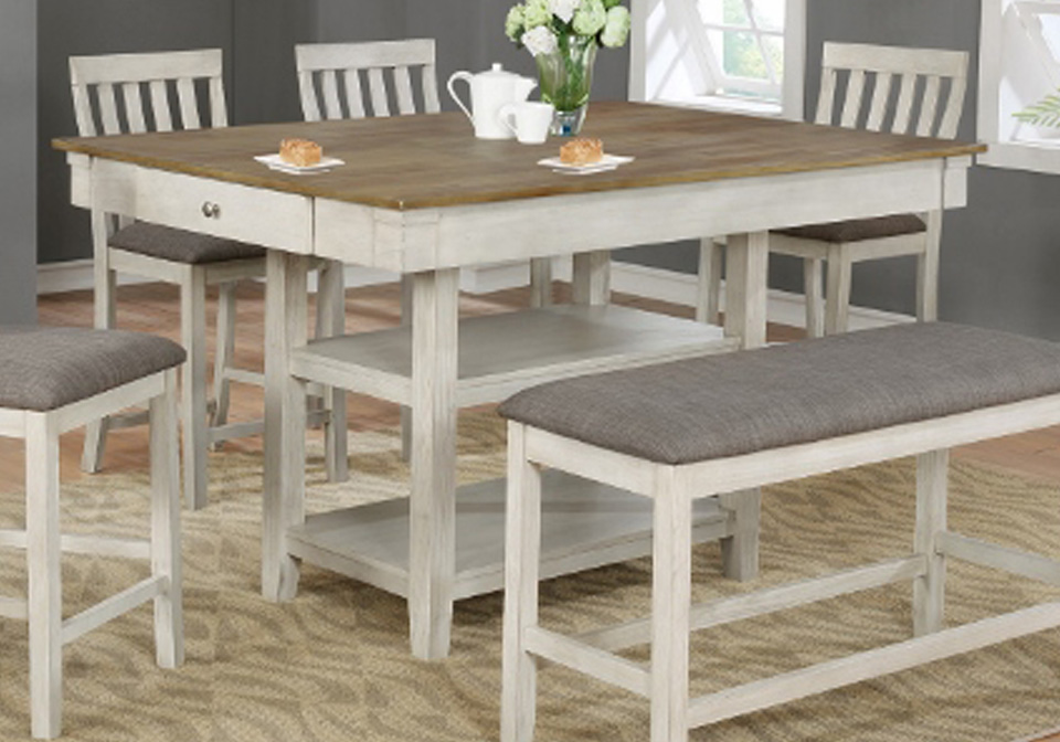 Nina White Rectangular Counter Height, Counter Height Dining Room Table