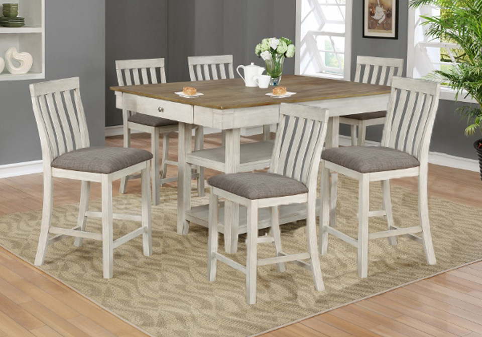 Nina White Counter Height Dining Room Table 7pc Set Evansville