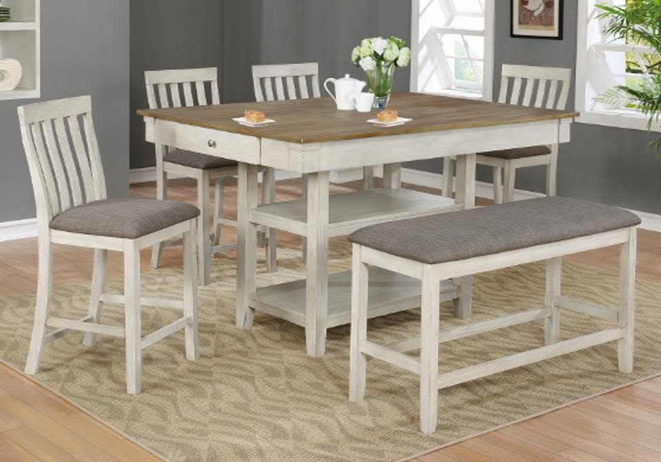 Nina White Counter Height Dining Room Table 6PC. Set