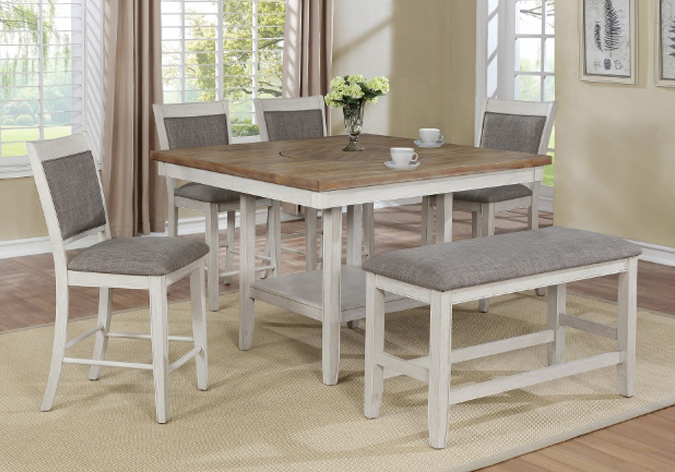 Fulton White Counter Height Dining Room Table 6PC. Set