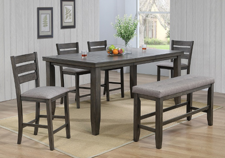 Bardstown Gray Counter Height Dining Room Table 6pc Set Evansville Overstock Warehouse