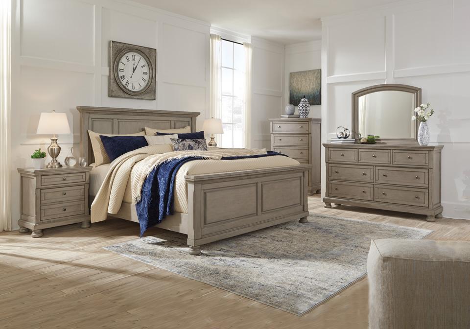 Lettner Light Gray King Panel Bedroom Set