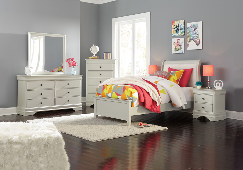 Jorstad Gray Twin Upholstered Sleigh Bedroom Set
