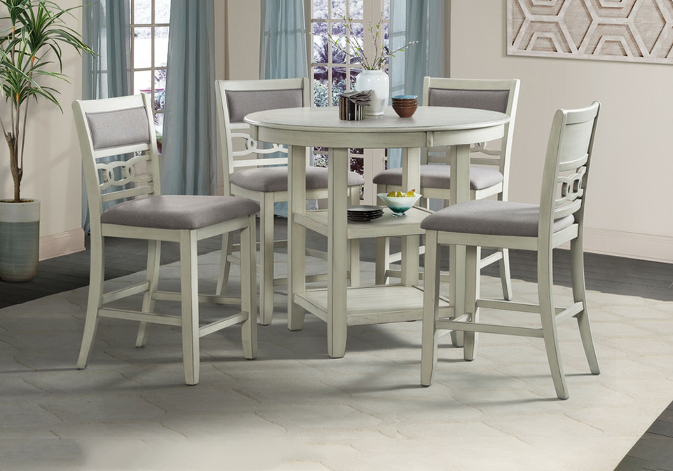 Amherst White Counter Height 5pc Dining, Bar Height Kitchen Table And Chairs Set