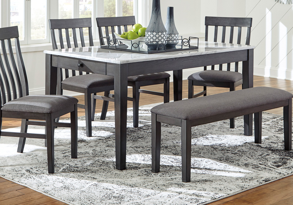 Luvoni Charcoal Gray Dining Table, Gray Dining Room Set