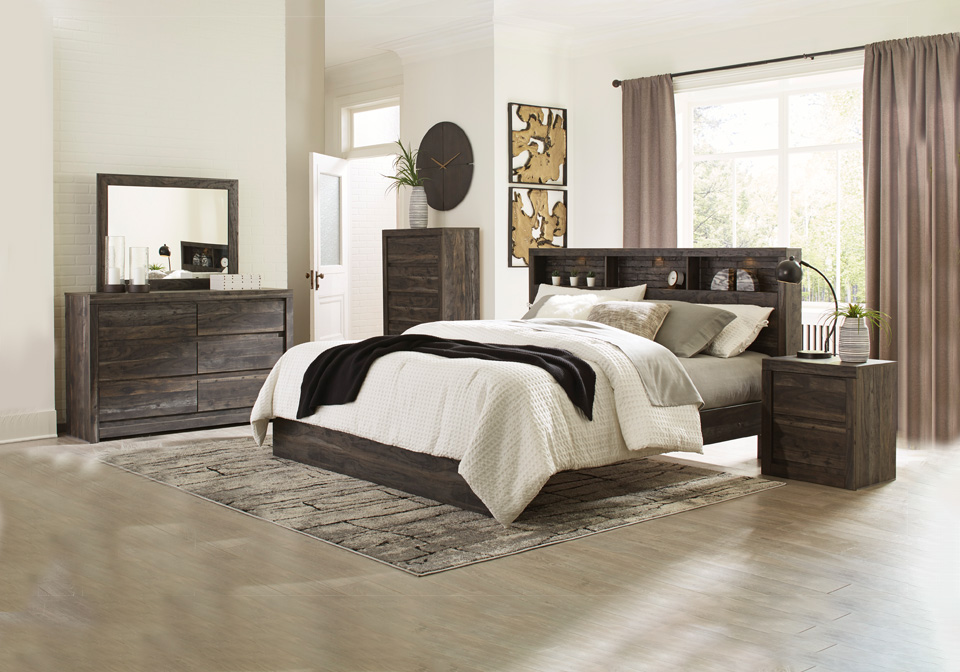 Vay Bay Charcoal King Bookcase Panel Bedroom Set